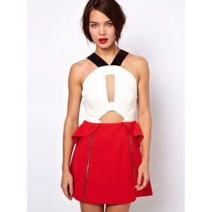 Three Floor Red Shot Color Block Dress Zip Detail